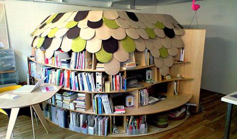 Mueble decorado para biblioteca
