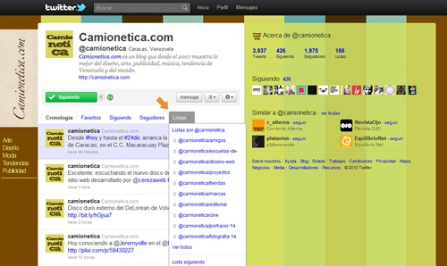 Camionetica - Listas Twitter
