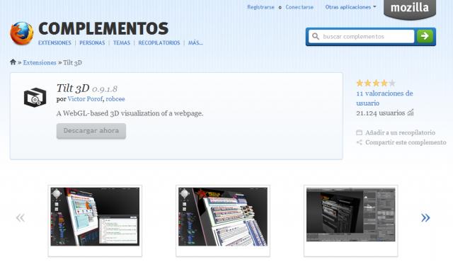 Tilt 3D: Extensión AddOn para Firefox. Visualiza sitios web en 3D