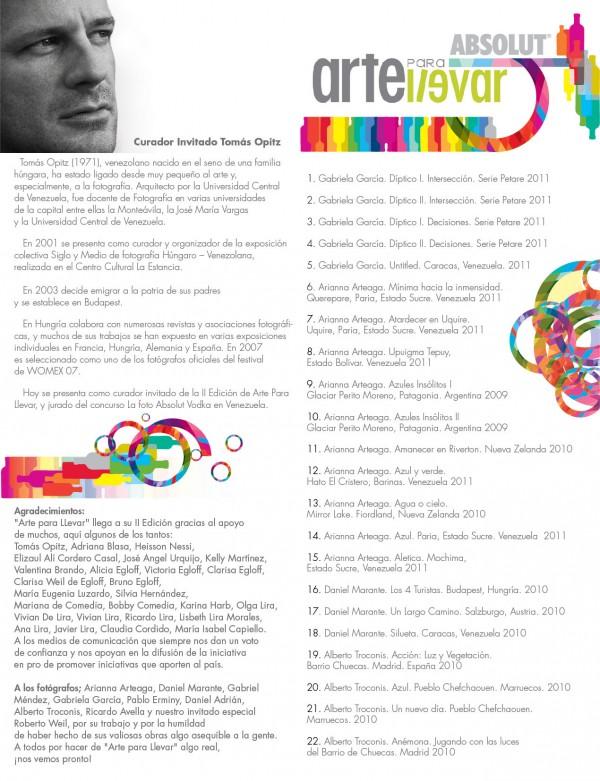 Arte para Llevar 2da Edición: Catálogo