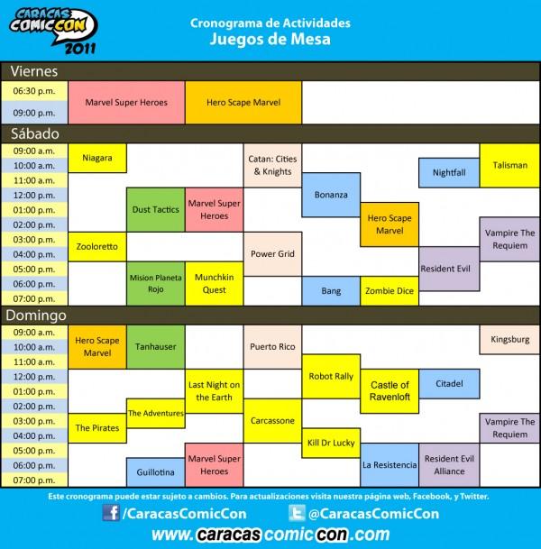 Cronograma ComicCon 2011: Juegos de Mesa