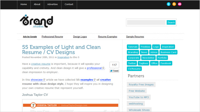 55 diseños curriculares con diseños limpios y creativos