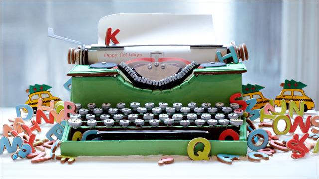 Máquina de escribir hecha con galletas