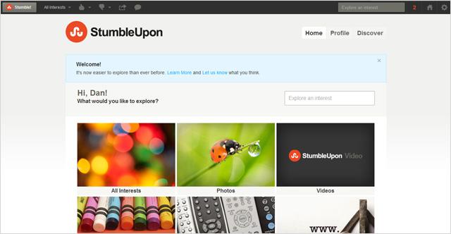 Nuevo diseño de StumbleUpon