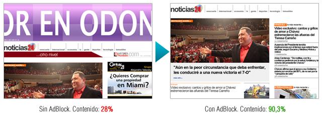 AdBlock: Antes y Después (Noticias24 con y sin banners publicitarios)