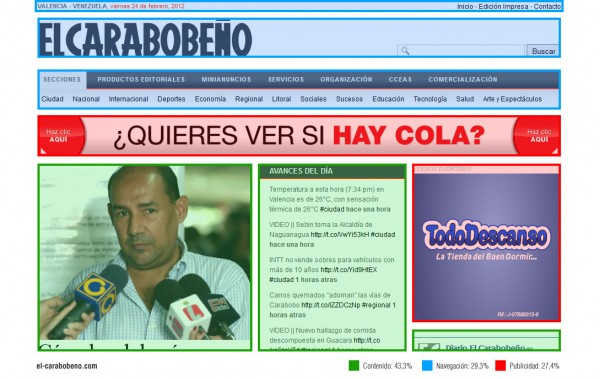 Ejemplo de publicidad moderada en Internet (El Carabobeño)