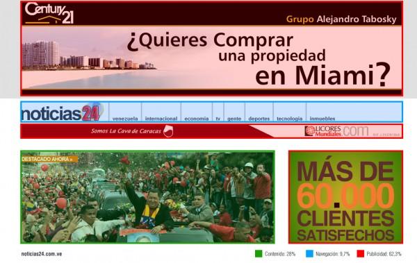 Ejemplo de publicidad invasiva en Internet. Exceso de banners (Noticias 24)