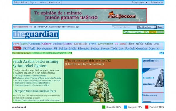 Buen ejemplo de publicidad no invasiva en Internet. Banner encabezado (The Guardian)