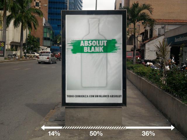 Ejemplo de publicidad molesta e invasiva en aceras y calles de Caracas (Absolut)