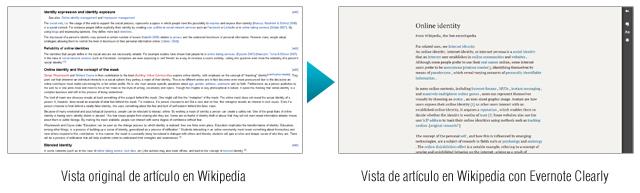 Una mejor lectura de Wikipedia - Antes y después de Evernote Clearly