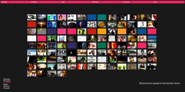 We Feel Fine - Plataforma infográfica animada e interactiva - Vista Imágenes