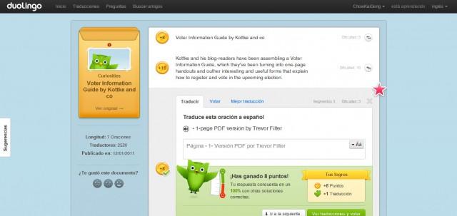 Duolingo - Aprende inglés online gratis. Vista de Módulo de Traducciones