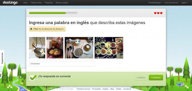 Duolingo - Aprende inglés online gratis. Vista de Lecciones