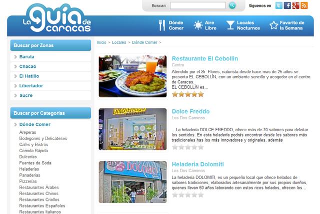 La Guía de Caracas - Directorio de Locales para Comer en Caracas