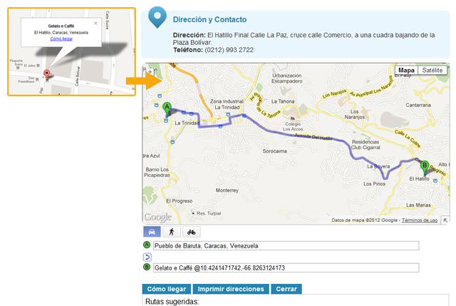 La Guía de Caracas - Rutas para llegar a los locales