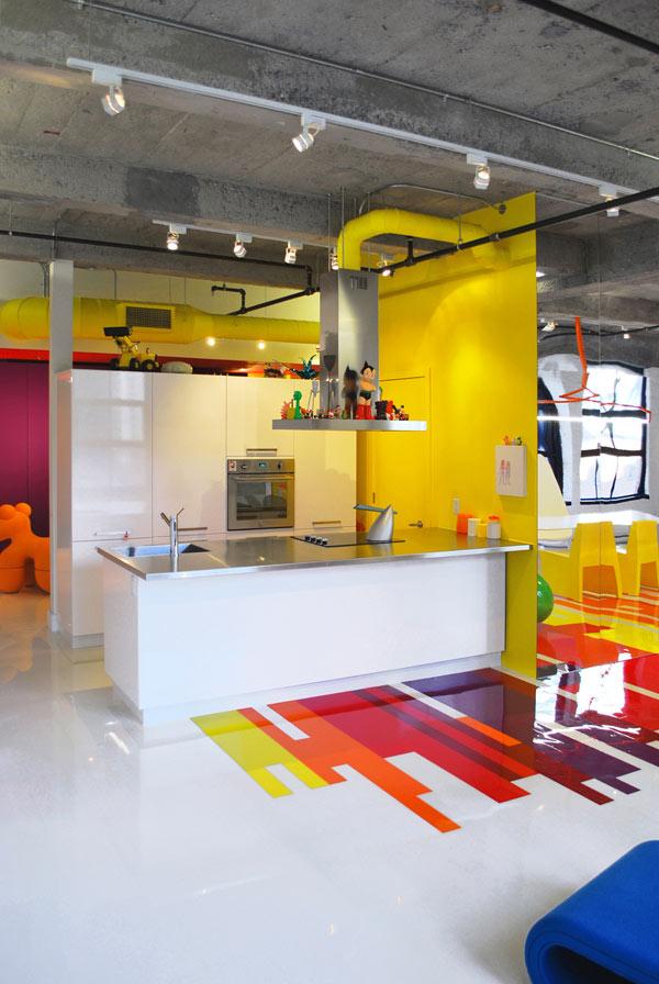 Decoración de Loft colorido de Jean Verville - Cocina