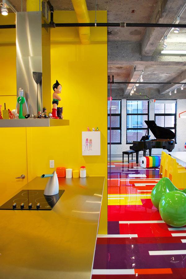 Decoración de Loft colorido de Jean Verville - Cocina y Sala