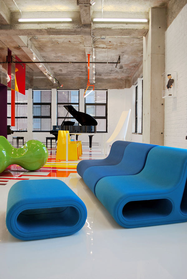 Decoración de Loft colorido de Jean Verville - Sala y Comedor