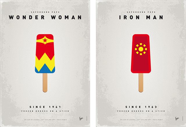 Superhero Ice Pop - Mujer Maravilla y Iron Man