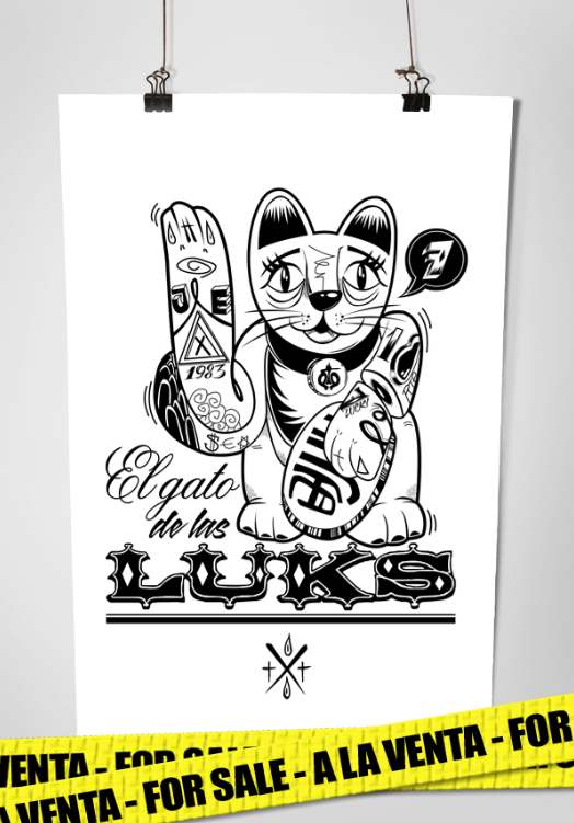 "Cartel ""El Gato de las Luk$"" por ArtTattoo"