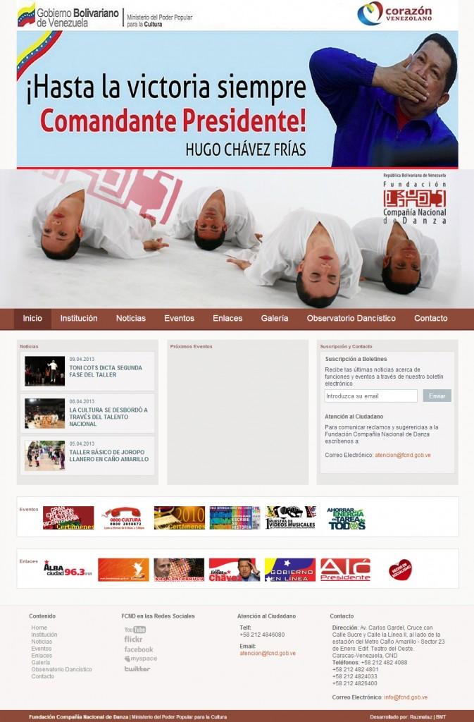 """Diseño de sitio web de la Fundación Compañía Nacional de Danza, modificado por la institución. Captura actual, 2013. Nótese que el banner promocional de """"Hasta la victoria siempre Comandante Presidente"""" hace que todo el contenido del sitio quede por debajo del """"doblez de la página"""" (below the fold)"""