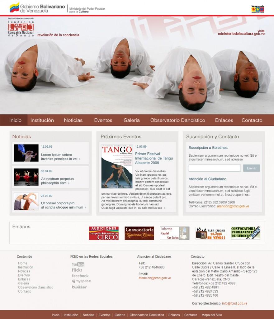Diseño de sitio web para la Fundación Compañía Nacional de Danza, que realicé con mucho cariño en el año 2009