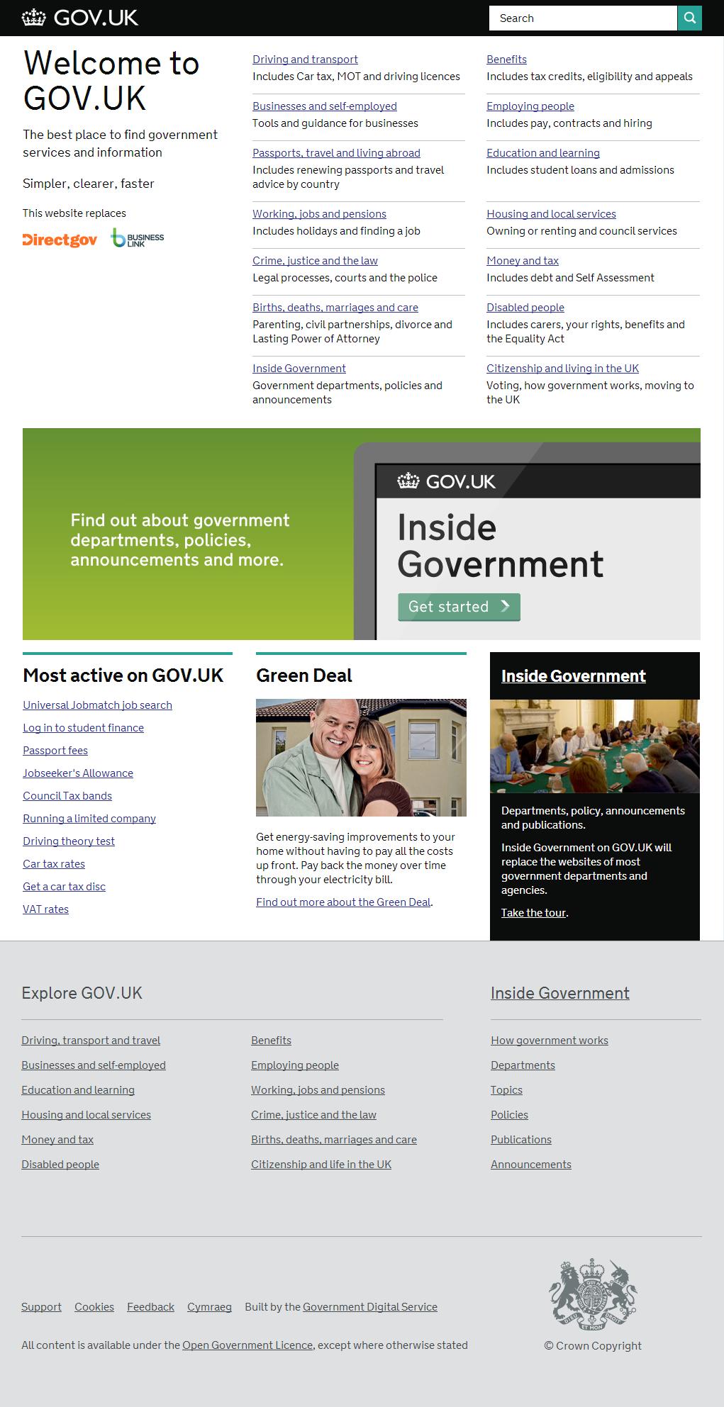 Sitio web del Gobierno Británico GOV.UK
