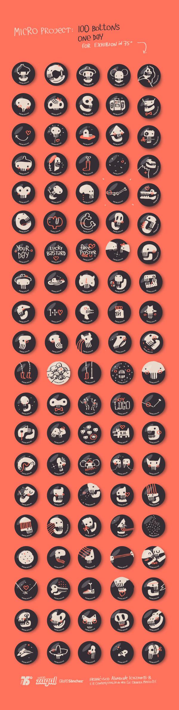 100 botones, 1 día (Exposición Pinche Loco en 75°)