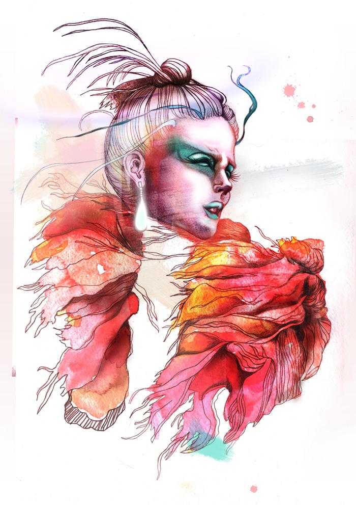 Ilustraciones para Yen Magazine por Sara Blake