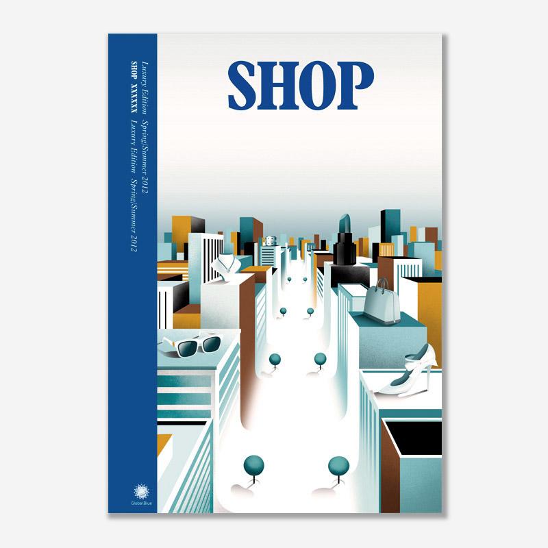 """Shop Magazine"" (2012) por Borja Bonaque. Cliente: Global Blue"