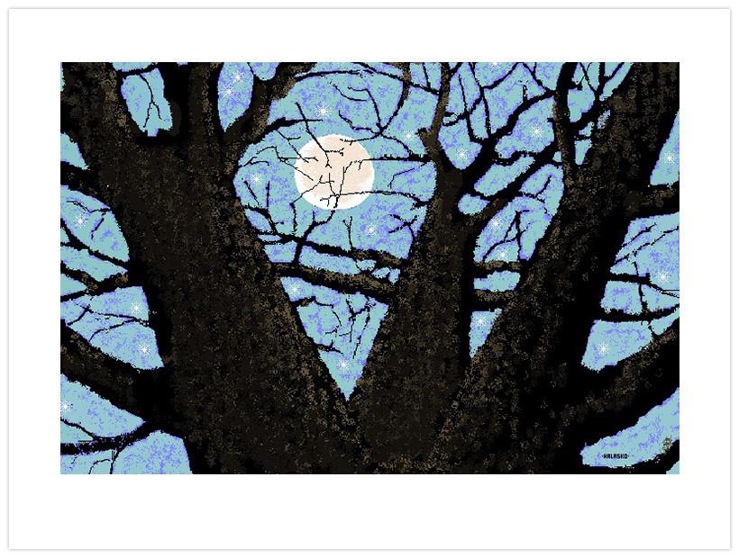 Tree and Moon por Hal Lasko