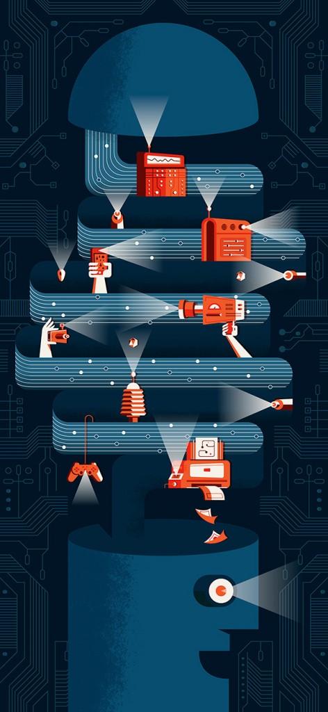"""Ilustración """"Digital Culture"""" realizada para el V Congreso Iberoamericano de Cultura (España) por Martín Azambuja"""