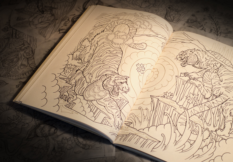 Libro de Tatuajes para Colorear, ilustrado por MEGAMUNDEN