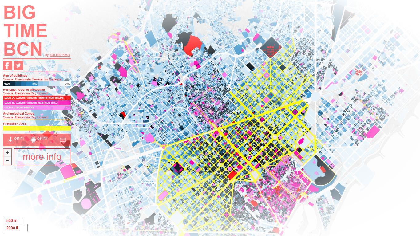 BIG TIME BCN - Mapa Interactivo de Barcelona: edad de las parcelas, edificaciones de interés histórico