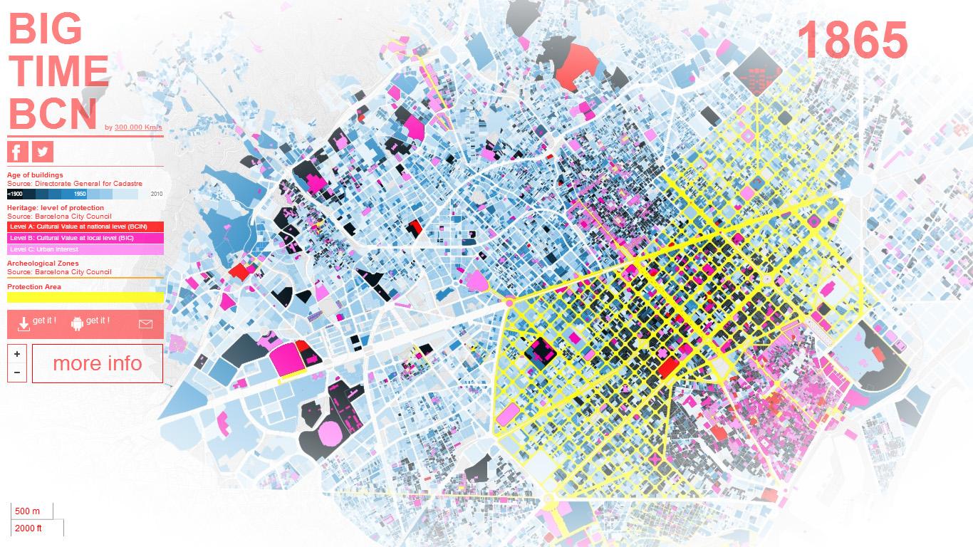 BIG TIME BCN - Mapa Interactivo de Barcelona: vista general de la edad de las edificaciones