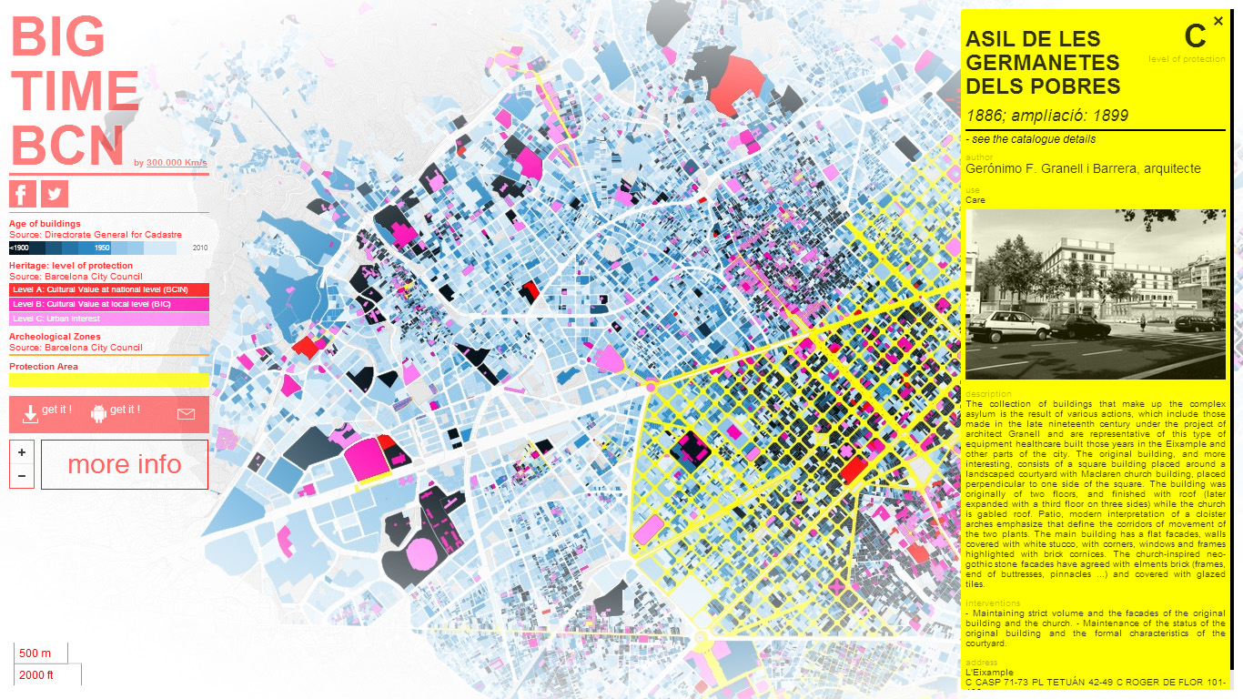 BIG TIME BCN - Mapa Interactivo de Barcelona: detalle e historia de edificaciones de interés histórico y patrimonial