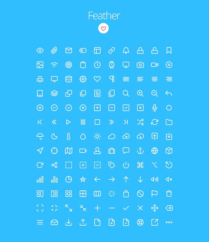 Feather: Descarga gratis 130 iconos vectoriales minimalistas