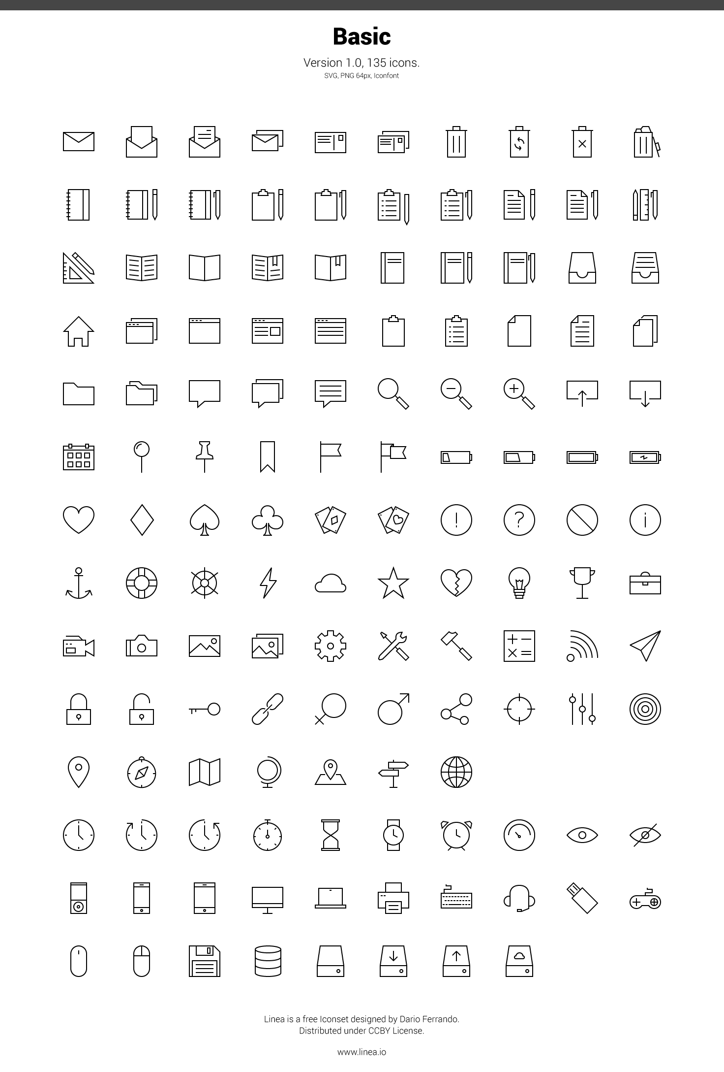 Descarga Linea: 160 iconos vectoriales minimalistas