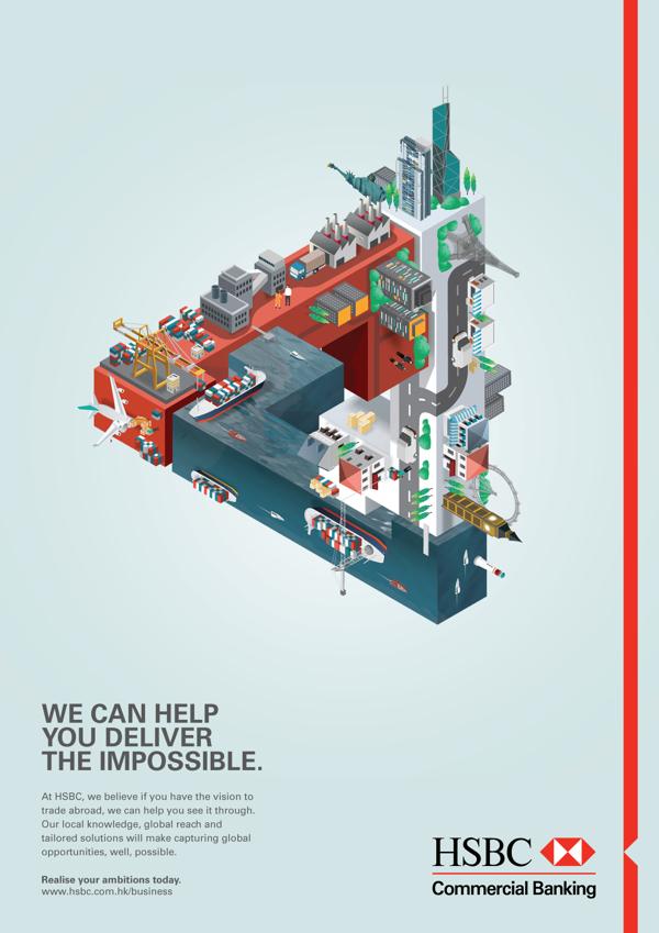 Ilustración publicitaria para HSBC (Campaña de servicios de Banca Comercial) por Jing Zhang. Agencia: GREY HK