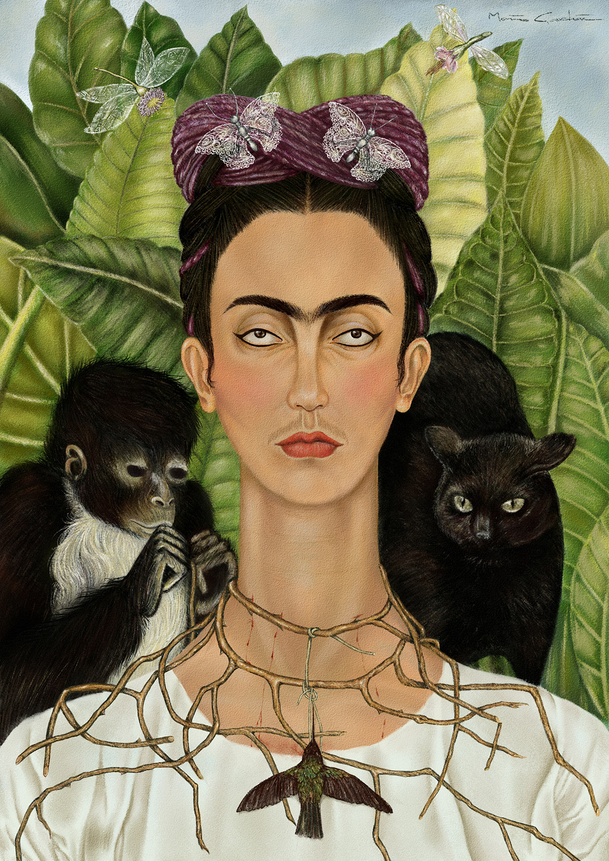 frida kahlo con collar de espinas camionetica. Black Bedroom Furniture Sets. Home Design Ideas