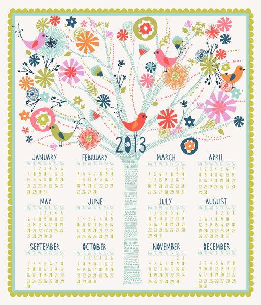 Pretty Tree Calendar 2013 por Bethan Janine