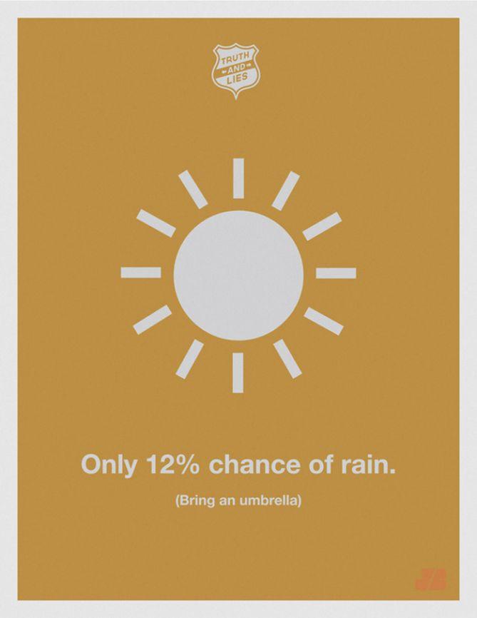 Solo hay un 12% de probabilidad de que llueva (trae un paraguas)