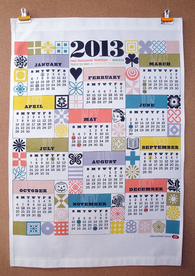 Tea Towel Calendar 2013 Por Penny Candy