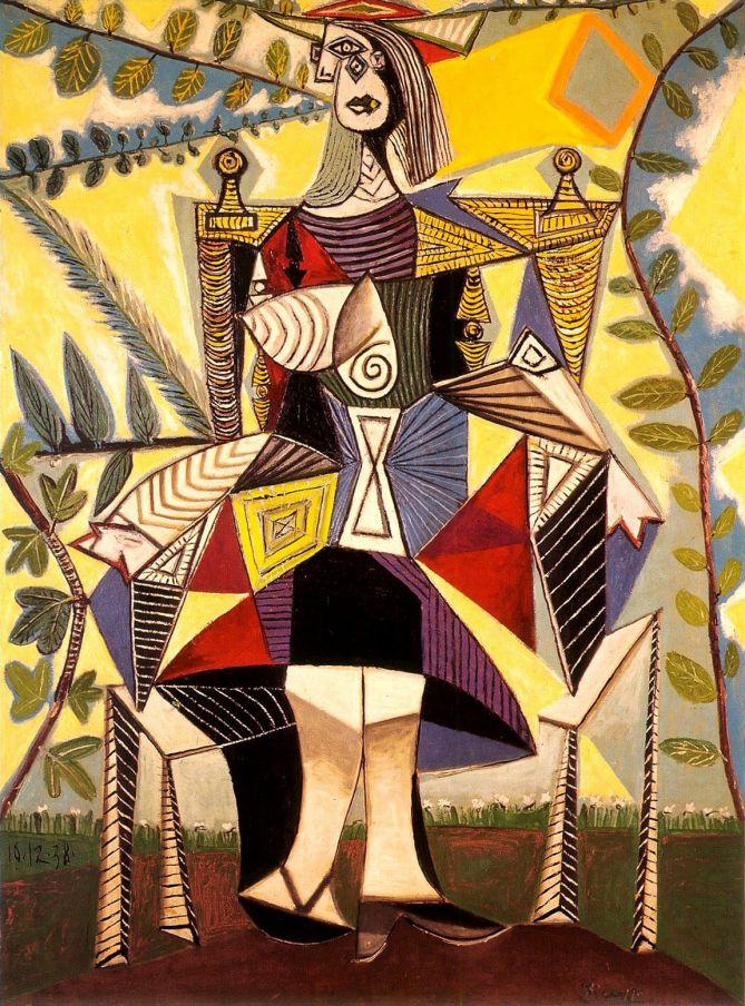 Femme au jardin /  Femme assise au jardin (Pablo Picasso, 1938)